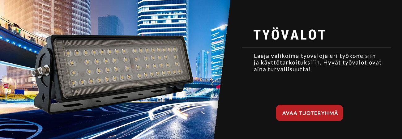 Laaja valikoima LED työvaloja eri työkoneisiin ja käyttötarkoituksiin.